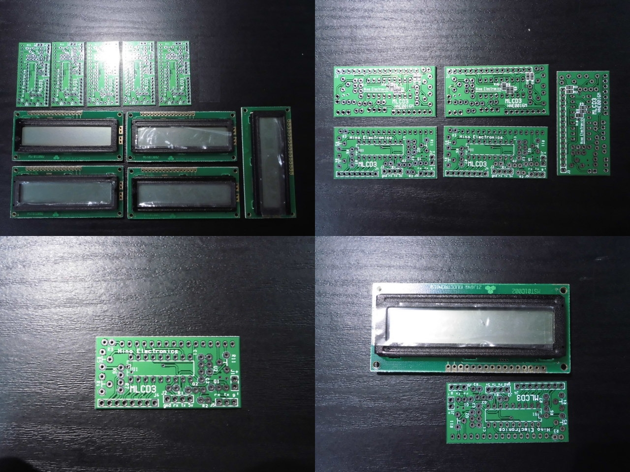 [HCS]汎用LCD基板と16x2LCD(白黒 BL無) 18pin PIC向け 5セット