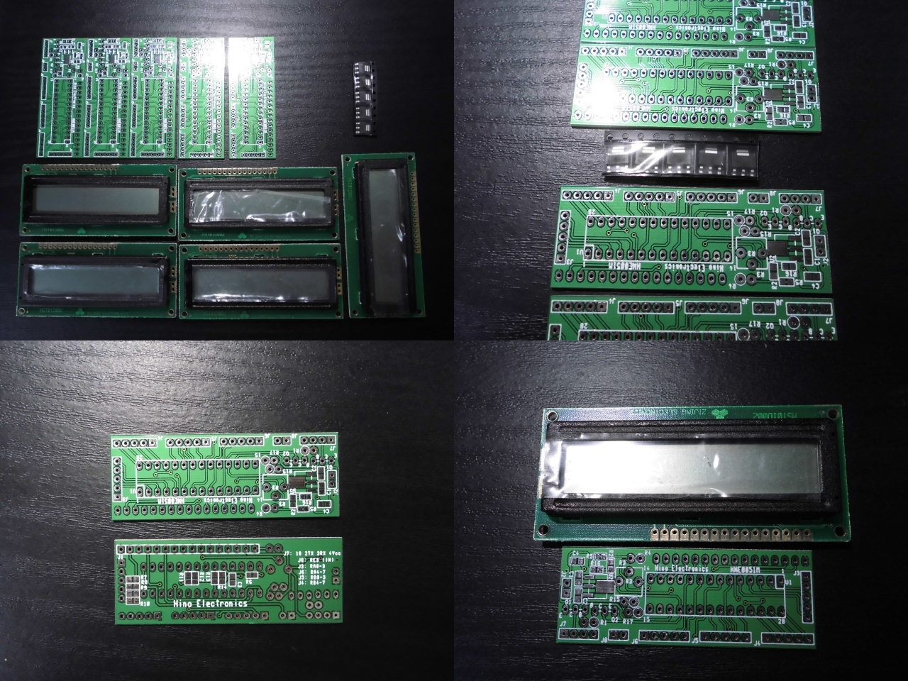 [HCS]汎用LCD基板と16x2LCD(白黒 BL無) 28pin PIC向け 5セット
